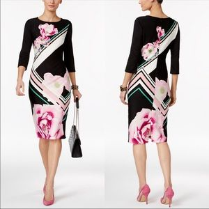 ECI New York Stretch Floral Sheath Midi Dress